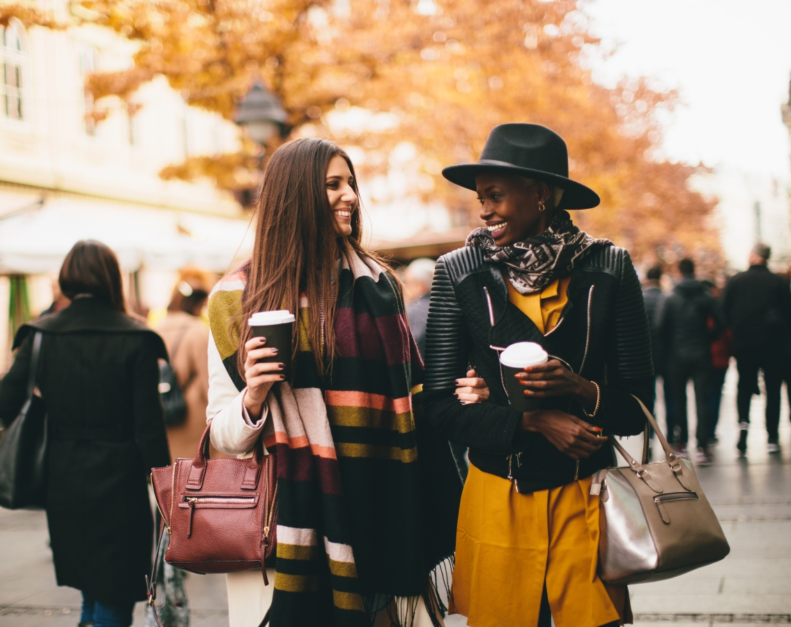 stylish women with coffee
