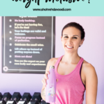 Woman holding a unicorn water bottle in a purple gym