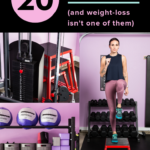 Woman exercising in a purple gym