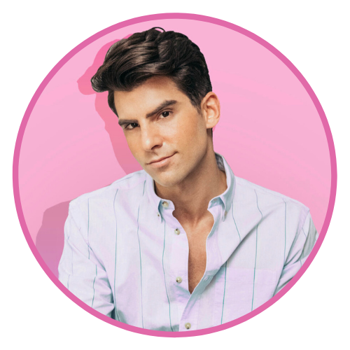 A headshot of Todd wearing a collared shirt with the top two buttons undone against a bright pink backdrop