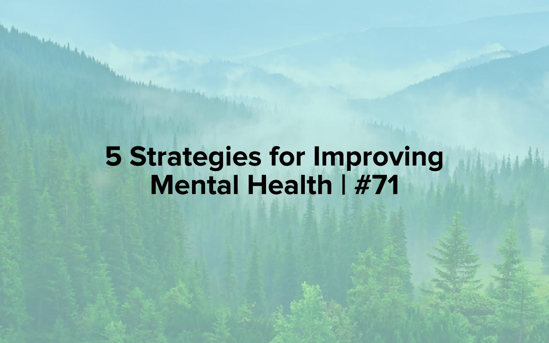 "A mountain range with steam rising from it and pine trees in front of it with the words, ""5 Strategies for Improving Mental Health 