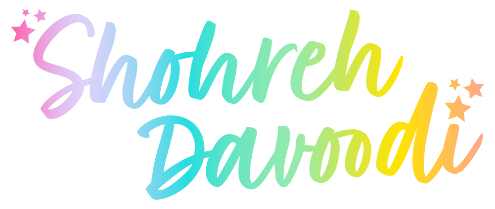 "The Shohreh Davoodi logo in rainbow ombre coloring, featuring cursive lettering and stars before the ""S"" and after the ""i."""