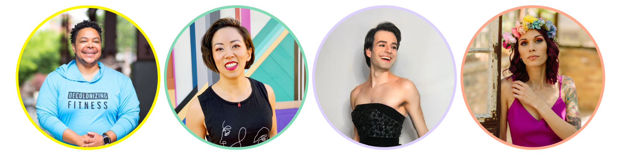 Side-by-side headshots of Ilya, Melody, James, and Shohreh in colorful circular. frames